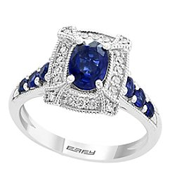 Effy Royale Bleu Collection Sterling Silver Sapphire And .15 Ct. T.W. Diamond Ring