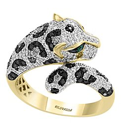 Effy® 14K Gold Signature Panther Ring With 1.05 Ct. T.W. White And Black Diamonds