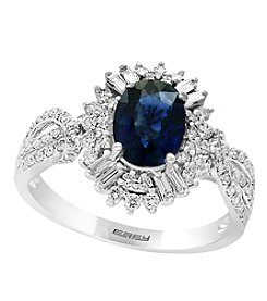 Effy 14K White Gold Sapphire & .52 Ct T.W. Diamond Ring