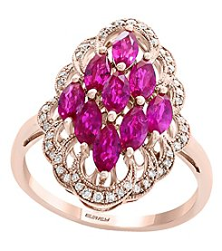 Effy® Amore Collection 14K Rose Gold Ruby And .15 Ct. T.W. Diamond Ring