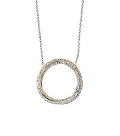 Effy® Trio Collection 14K Gold .40 Ct. T.W. Diamond Circle Necklace