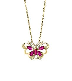 Effy Amore Collection 14K Gold Ruby And .20 Ct. T.W. Diamond Butterfly Pendant
