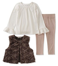 Calvin Klein Girls' 2-6X 3 Piece Top, Vest and Leggings Set
