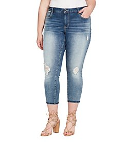 Jessica Simpson Plus Size Forever Rolled Destructed Ankle Jeans