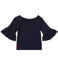 Polo Ralph Lauren Girls' 2T-16 Solid Ruffle Sleeve Top