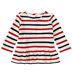 Lauren Baby Girls' Long Sleeve Striped Peplum Shirt