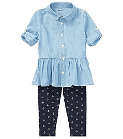 Lauren Baby Girls' Chambray Top And Leggings Set