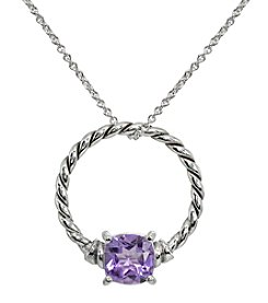 Silver Plated Oxidized Amethyst Pendant Necklace
