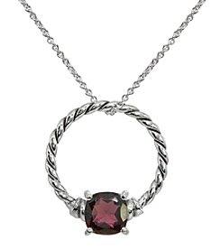 Silver Plated Oxidized Garnet Pendant Necklace