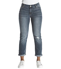 Ruff Hewn Petites' Distressed Detail Rolled Cuff Jeans