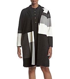 Calvin Klein Plus Size Long Color Block Cardigan Sweater