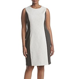 Calvin Klein Plus Size Colorblock Pindot Sheath Dress