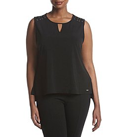 Calvin Klein Plus Size Keyhole Knit With Lace Top