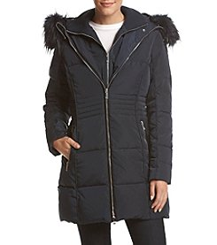 Tommy Hilfiger Faux Fur Trim Down Coat
