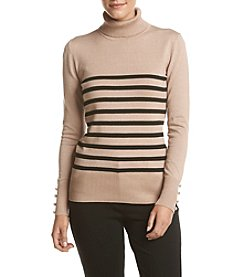 Cupio Button Cuff Striped Pattern Sweater