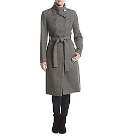 Ivanka Trump Chevron Pattern Stand Collar Belted Wrap Coat