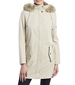Ivanka Trump Hidden Snap Front Faux Fur Hood Coat