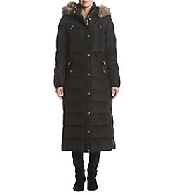 MICHAEL Michael Kors Long Down Faux Fur Trim Hood Coat