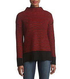 Philosophy by Republic Clothing Mock Neck Striped Pattern Sweater Top