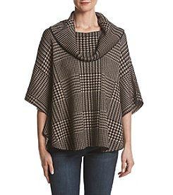 Fever Plaid Cowl Neck Poncho Sweater