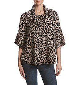 Fever Geometric Pattern Cowl Neck Poncho Sweater