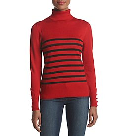 Cupio Turtleneck Button Detail Stripe Sweater