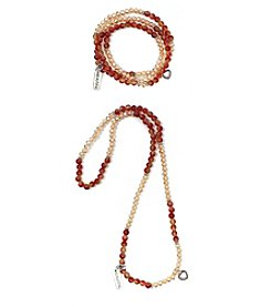 L&J Accessories Orange And Red Genuine Stone And Glass Charm Wrap