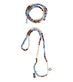 L&J Accessories Blue And Natural Glass And Genuine Stone Charm Wrap