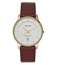Armitron Men's 39mm Day and Date Brown Leather Strap Watch