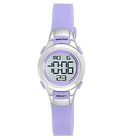 Armitron Sport 27mm Stainless Steel Accent Purple Resin Strap Digital Chronograph Watch