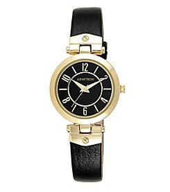 Armitron Women's 30mm Goldtone and Black Leather Strap Watch