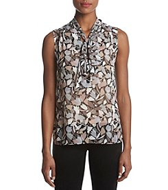 Anne Klein Print Tie-Neck Top