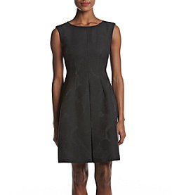 Anne Klein Jacquard Pleat Fit And Flare Dress