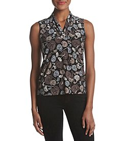 Anne Klein Print Triple Pleat Top