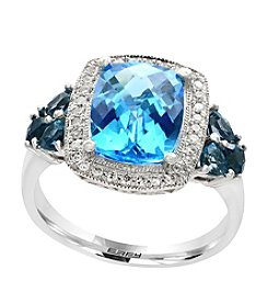Effy 14K White Gold Blue Topaz And .12 Ct. T.W. Diamond Ring