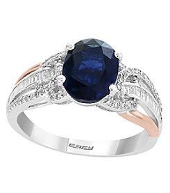 Effy® 14K Two Tone Gold Sapphire And .31 Ct. T.W. Diamond Ring