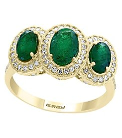 Effy 14K Gold Emerald .32 Ct. T.W. Diamond Ring