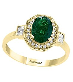 Effy 14K Gold Emerald .14 Ct. T.W. Diamond Ring