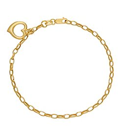 14K Yellow Gold Polished Link Bracelet with Heart Charm
