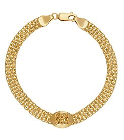14K Yellow Gold Polished Bismark Oval Charm Mesh Bracelet