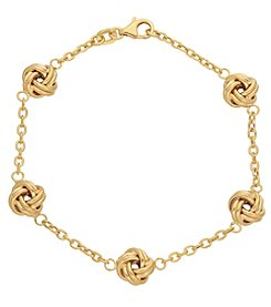 14K Yellow Gold Polished Link Bracelet with Love Knot Stations Bracelet