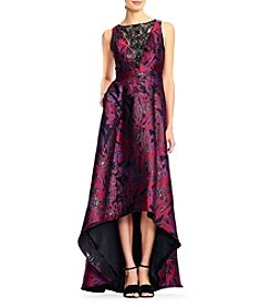 Adrianna Papell Floral Jacquard Long Dress