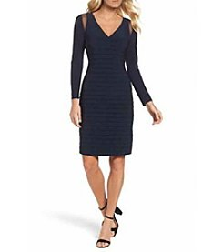 Adriana Papell Banded Mesh Shoulder Dress