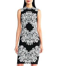 Adrianna Papell Lace Printed Mock Neck Dress