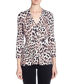 Catherine Malandrino Paneled Design Leopard Print V-Neck Top