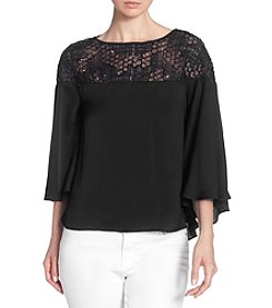Catherine Malandrino Sequin Mesh Sheer Yoke Top