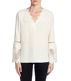Catherine Malandrino Lace Trim Bell Sleeve Blouse
