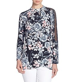 Catherine Malandrino Lace Trim Floral Draped Blouse