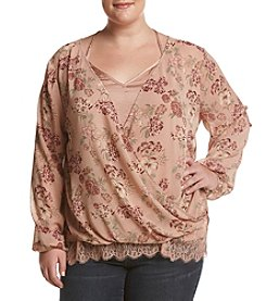 Skylar & Jade by Taylor & Sage Plus Size Floral Print Lace Under Cami Top