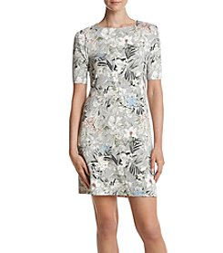 Ruff Hewn GREY Floral Pattern Shift Dress